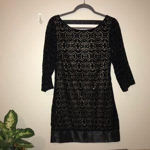 Laundry black velvet patterned shift dress